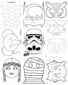 Collection of carnival masks - Letölthető sablonok papírálarcokhoz 2016 Diy For Kids, Crafts For Kids, Diy And Crafts, Paper Crafts, Pattern Coloring Pages, Carnival Masks, Coloring Books, Techno, Clip Art