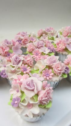 Sugar flower covered cupcakes