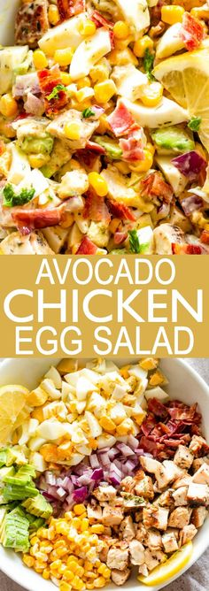 Avocado Chicken Egg Salad - Egg Salad with avocados chicken corn bacon and a creamy lemon dill dressing Delicious just served on its own as a side or on a bun via diethood Easy Egg Salad, Avocado Egg Salad, Avocado Salat, Easy Salad Recipes, Avocado Recipes, Avocado Toast, Healthy Recipes, Salad With Eggs, Detox Recipes