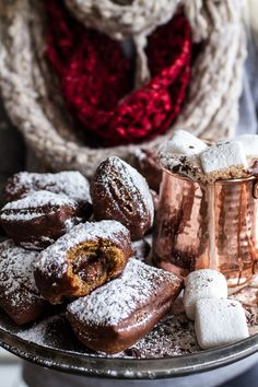 Gingerbread Surprise Beignets with Spiced Mocha Hot Chocolate // via Half-Baked Harvest Cupcakes, Half Baked Harvest, Christmas Desserts, Christmas Treats, Christmas Time, Fall Treats, Christmas Goodies, Xmas, Pumpkin Spice Latte