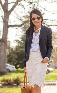 navy blazer, striped button up shirt, floral lace pencil skirt Beige Skirt Outfit, Lace Skirt Outfits, Workwear Fashion, Work Fashion, Fashion Outfits, Work Chic, Comfortable Outfits, Floral Lace, Dresses For Work