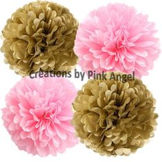 Set of 6 Pink and Gold Pom Poms Pink and by CreationsByPinkAngel