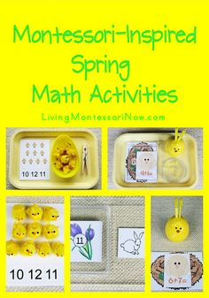 preschool math, math activities, easter printables, blog, bagels, coaches, baby chicks, spring math, montessori