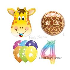 Giraffe Safari Balloon Pkg Number Balloon Mylar Foil Orbz Giraffe Jungle Safari Party Balloons Birthday Party Latex Animals Made in USA Jungle Balloons, Dinosaur Balloons, Number Balloons, Safari Party Decorations, Birthday Decorations, Jungle Safari, Jungle Animals, The Good Dinosaur, Giraffe Print