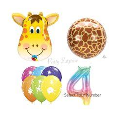 Giraffe Safari Balloon Pkg Number Balloon Mylar Foil Orbz Giraffe Jungle Safari Party Balloons Birthday Party Latex Animals Made in USA Jungle Balloons, Dinosaur Balloons, Number Balloons, Giraffe Cupcakes, Safari Cupcakes, Safari Party Decorations, Safari Theme Party, Giraffe Decor, Birthday Balloons