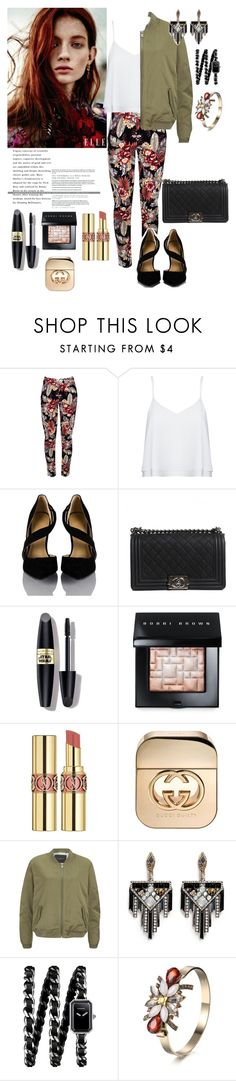"""""""Cool chick!"""" by dupeslist ❤ liked on Polyvore featuring Alice + Olivia, Chanel, Max Factor, Bobbi Brown Cosmetics, Yves Saint Laurent, Gucci, Maison Scotch and Lulu Frost"""