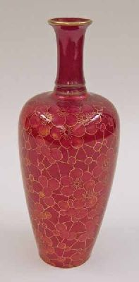 Doulton vase, decorated with flambé glaze and overglaze gilt oriental prunus blossom pattern, ca. 1920-1930