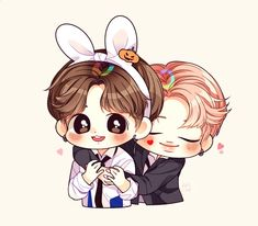 SarangInGayo💜 Bts Chibi, Anime Chibi, Kawaii Anime, Anime Art, Jungkook Fanart, Bts Jungkook, Jikook, Cartoon Fan, Bts Drawings