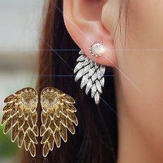 Women's Angel Wings Rhinestone Inlaid Alloy Ear Studs Party Jewelry Earrings  C64Z