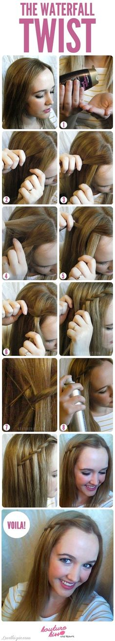 DIY Waterfall Twist girly cute hair girl pretty diy hairstyle diy projects diy craft
