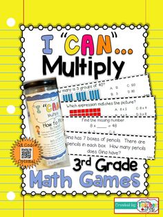 """This """"I CAN"""" Math game covers all standards for TIME in grade. Perfect for Guided Math & Test Prep! {Common Core} With QR codes! 3rd Grade Fractions, Third Grade Math, Math Fractions, Grade 3, Multiplication, Math Test Games, Learning Games, Math Classroom, Classroom Ideas"""