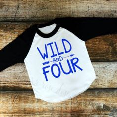 I just love this raglan! What a simple yet adorable shirt for a 4th birthday! Can customize to any color design.