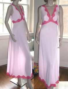 Emilio Pucci M Long Nightgown Negligee Italian Made Hot Pink Lace Formfit Rogers #EmilioPucci #Gowns