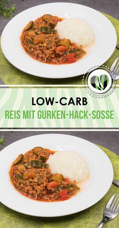 Blumenkohlreis mit Gurken-Hackfleisch-Soße ist lecker und low-carb. Zudem auch noch glutenfrei.