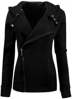 Women's Casual Solid Color Slim Fit Zip up Hoodie Jacket AZBRO.com