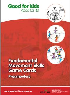 Theses cards for Preschool age children have been designed to help develop children's locomotor and manipulative skills. Use the game cards as part of fundamental movement skills learning experiences with warm up and cool down activities.