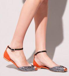 Emma Go glitter peep toe flats