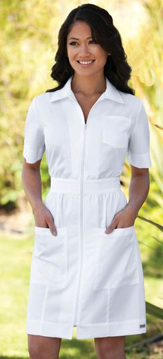 Potential scrub-dress for grad? Seeing as we have to wear these ugly things for the pinning ceremony. Nursing Pins, Nursing Dress, Nursing Clothes, White Nurse Dress, Cheap Dresses, Cute Dresses, Hippie Elegante, Scrubs Uniform, Nurse Scrubs