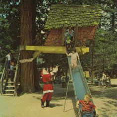 The Crooked Tree House and Slide at Santa's Village in Sky Forest, CA.