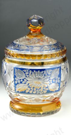 Antique amber glass. Bohemian flashed and floral engraved barrel and cover, c.1910.