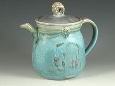 Pottery teapot in turquoise glaze by Hodakapottery