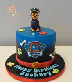 Paw Patrol cake with edible Chase Rubble Paw Patrol Cake, Paw Patrol Chase Cake, Torta Paw Patrol, Paw Patrol Cake Toppers, Creative Birthday Cakes, Pig Birthday Cakes, 4th Birthday, Paw Patrol Birthday Theme, Cakes For Boys