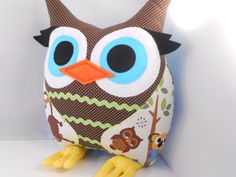 SALE Stuffed Owl Pillow  woodland owl pillow by by karensagez, $29.00