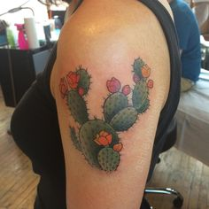 Lovely Prickly Pear Traditional Tattoo On Left Shoulder