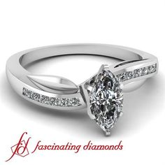 .70 Ct Marquise Cut Petite Diamond Swirl Engagement Ring Channel Set CUT:VERY GOOD SI1-E GIA