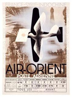 By Adolphe Mouron Cassandre Air-Orient Poste aérienne. Belle Epoque, Art Nouveau, Art Deco Posters, Indochine, Poster S, Art Deco Era, Vintage Travel Posters, Vintage Airline, Arts And Crafts Movement