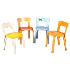 Children's Chairs N65 Set of Four by Alvar Aalto from Artek 2nd Cycle   1stdibs.com