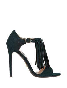 PRADA Fringe-Trim T-Strap Sandals