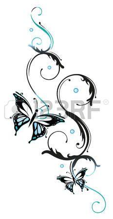 Des fleurs et des papillons bleus l ment floral Banque d'images