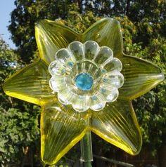 Yellow Glass Flower with Blue Bead Accents - Glass Flower Garden Art