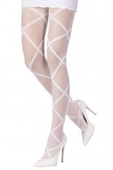 """Ladies//Womens Criss Cross Patterned Silky Tights  in two sizes 42/"""" /& 48/"""" Hip"""
