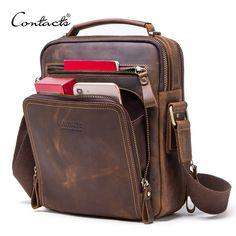 fac0396f1d CONTACT'S crazy horse leather men's shoulder bag vintage messenger bags men  bolsos male crossbody bags man's handbag sling bag