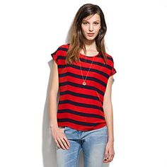 love this shape and hang.  silk picket stripe tee/ Madewell