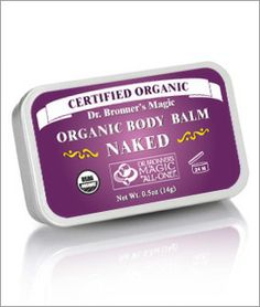 Dr. Bronner's Naked Organic Body/Tattoo Balm -- I discovered this in my quest to find fragrance-free products... exactly the same ingredients as their lip balm, but in a tin.  Extremely oily, but great for super-chapped skin.  I wouldn't recommend putting it on your face but it's great for hands/elbows/heels, etc.