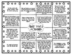 This is great - Sight Word Kindergarten Homework Activities Envelope Kindergarten Homework, Kindergarten Language Arts, Kindergarten Centers, Kindergarten Lessons, Classroom Language, Literacy Centers, Sight Word Practice, Sight Words, Sight Word Activities