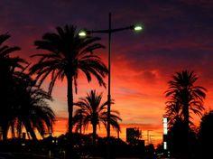 After sunset, dusk on the promenade in winter. Near Barcelona, Spain. Print.