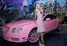 """Paris and her pink Bentley Coupe, as seen on """"Pimp My Ride""""."""