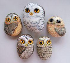 Совы нарисованные на камнях...   Магазин декора