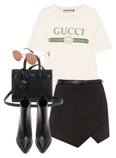 """Untitled #3218"" by camilae97 ❤ liked on Polyvore featuring Gucci, Yves Saint Laurent, Acne Studios and Ray-Ban"