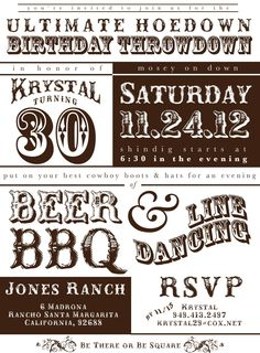 PRINTABLE backyard hodown party invitations PRINTABLE western