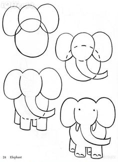 how to draw an elephant. Kind of a random pin but my niece wants an elephant painted in her room. :)