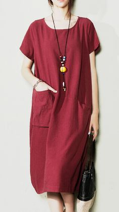 Burgundy maxi dress linen sundress