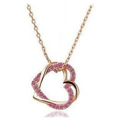 2013 New Double Hearts Fashion Jewelry 18K Gold Plated Plating Necklace Nickel Free Rhinestone Pendant Crystal SWA Elements  MG on AliExpress.com. $3.99