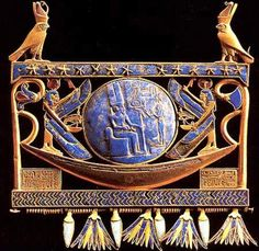 Material: Gold, Lapis Lazuli and Glass Paste Size: Height 37.5 cm; Width: 19 cm; Depth 1.2 cm Location: Tanis, Tomb of Psusennes I, Grave ...