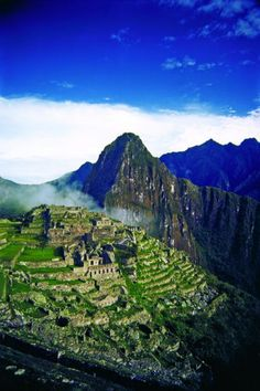 "High view of the ancient ruins of Machu Picchu, Peru, known popularly throughout the world as the ""Lost City of the Incas"""