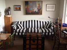 Black And White Striped Camelback Sofa Via Decked Studios | INTERIORS Sand  Tray, Studio Interior